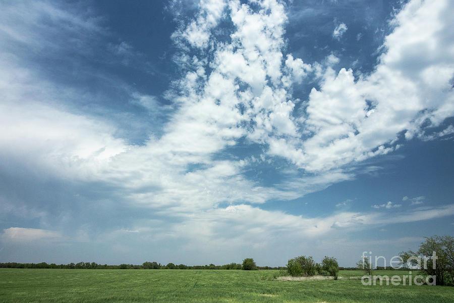 Clouds Photograph - Kansas field by Nicki Hoffman