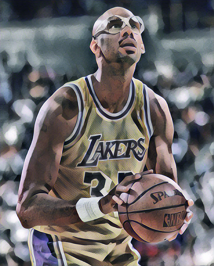 Kareem Abdul Jabbar Mixed Media - Kareem Abdul Jabbar Los Angeles Lakers Abstract Art by Joe Hamilton