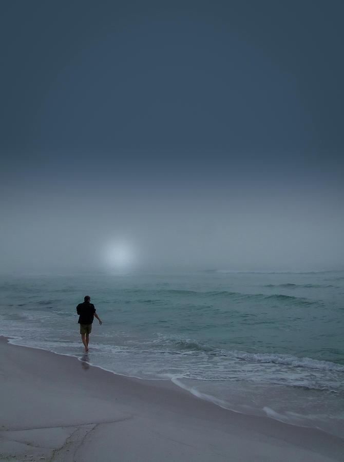 Karen Walking on the Beach by Philip Rispin