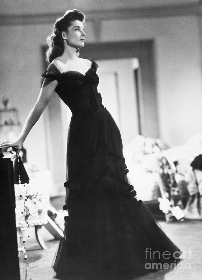 Katharine Hepburn In A Black Dress Photograph by Bettmann
