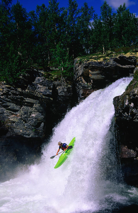 Kayaker Going Down Waterfall Of Store Photograph by Anders Blomqvist