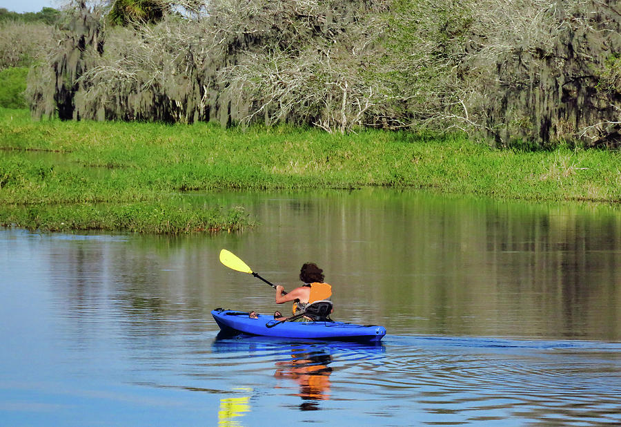 Kayak Photograph - Kayaker In The Wild by Rosalie Scanlon