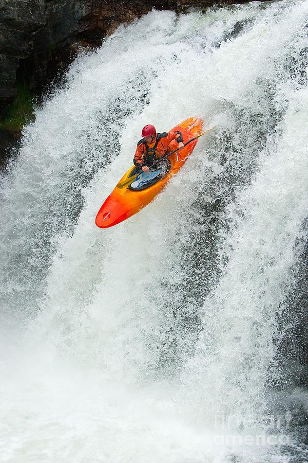 Play Photograph - Kayaker Jumping From A Waterfall by Ivan Chudakov