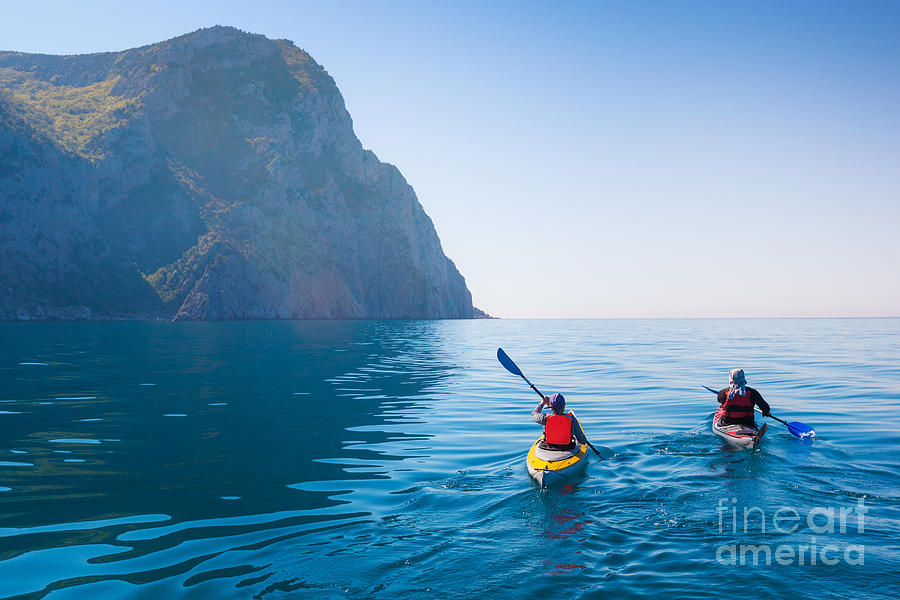 Couple Photograph - Kayaking In The Sea From Back View by Kuznetcov konstantin