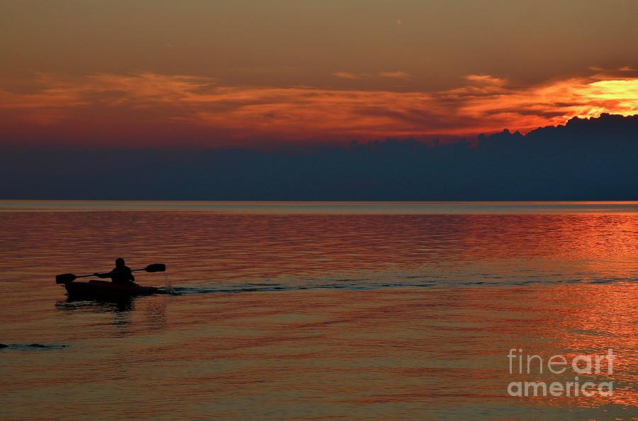 Wny Photograph - Kayaks Sunset Paradise by Tony Lee