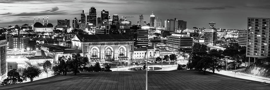 Kc Missouri Downtown Skyline From Liberty Memorial - Monochrome Edition Photograph