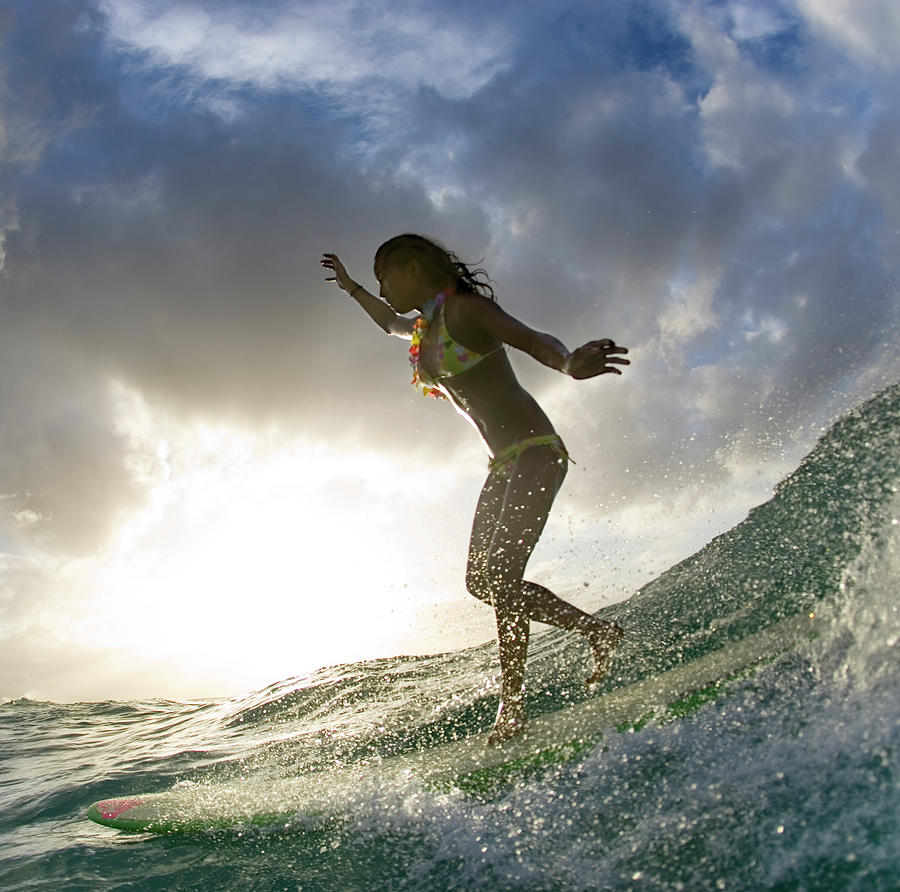 Sunset Surfer Girl - Square format by Sean Davey