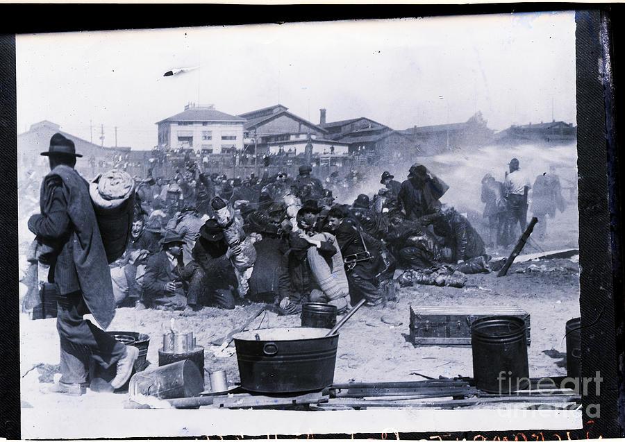 Kellys Army Sprayed By Fire Hose Photograph by Bettmann