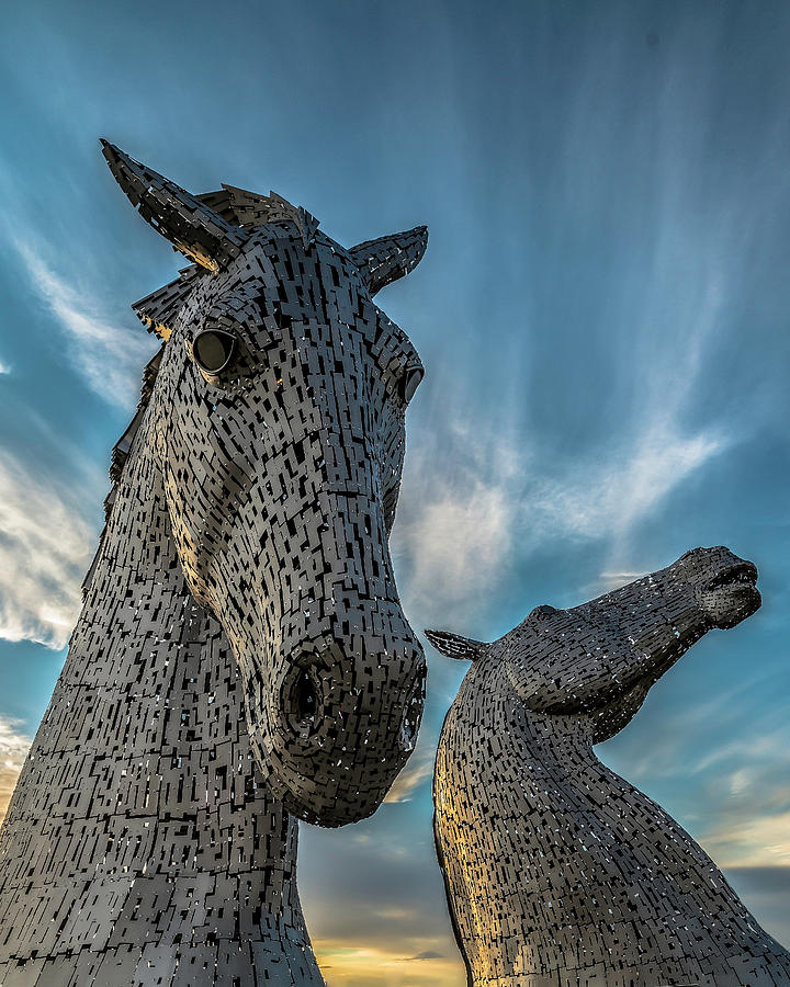 Kelpies Photograph - Kelpies horse head sculptures by Charles Hutchison