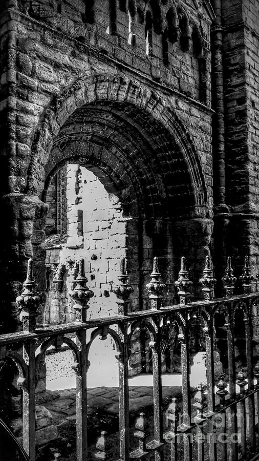 Kelso Abbey Arch in Monochrome by Joan-Violet Stretch