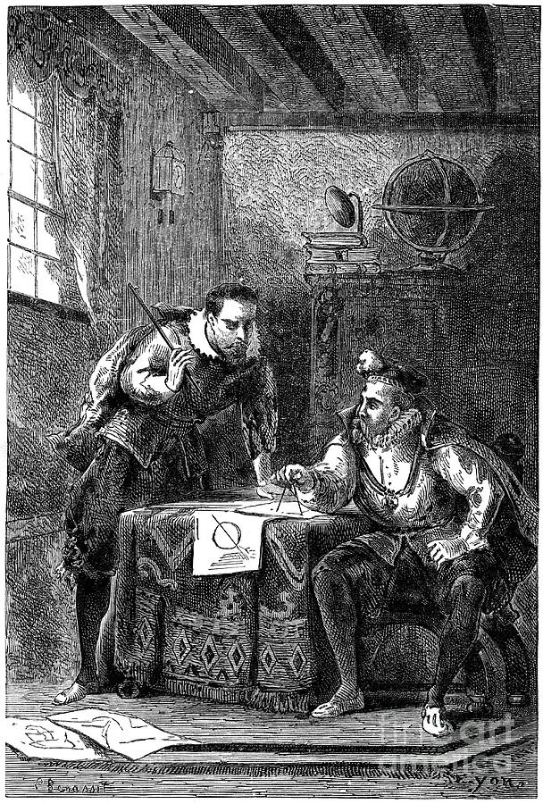 Kepler And Brahe At Work Together Drawing by Print Collector
