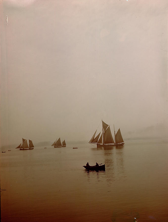 Ketch-rigged Fishing Boats On Hazy Photograph by Eliot Elisofon
