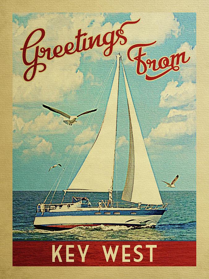 Key West Digital Art - Key West Sailboat Vintage Travel by Flo Karp