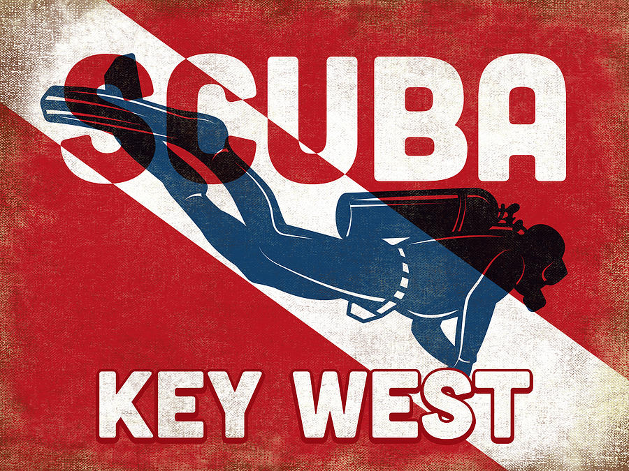 Key West Digital Art - Key West Scuba Diver - Blue Retro by Flo Karp