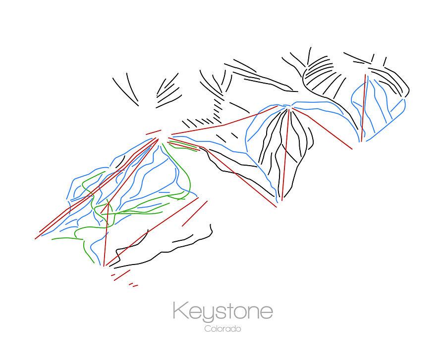 Keystone Colorado Co Ski Snowboard Resort Trial Map by Drew Suss