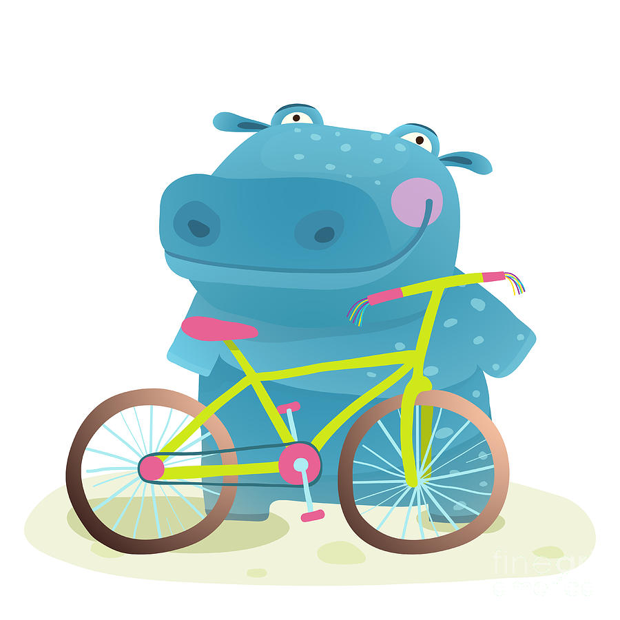 Pink Digital Art - Kid Cute Hippo With Bicycle Childish by Popmarleo