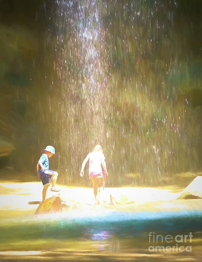 Kids and Waterfall by Cathy Donohoue