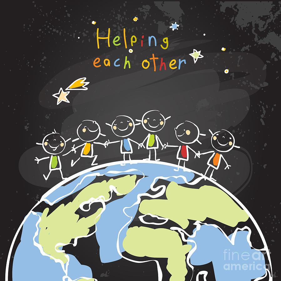 Trust Digital Art - Kids Helping Each Other Global by Lavitrei