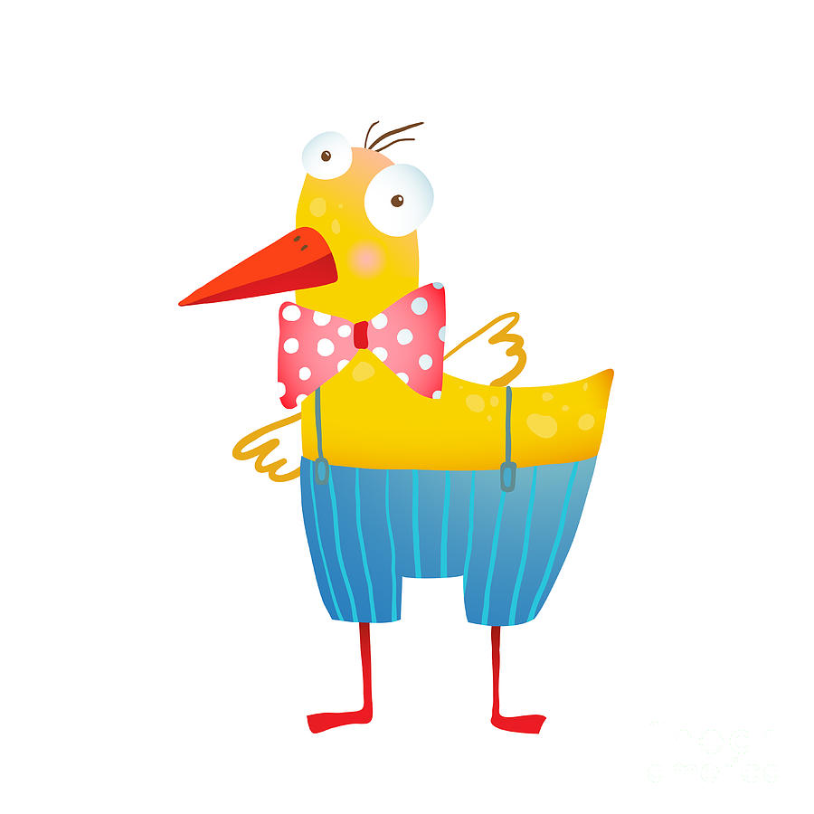 Play Digital Art - Kids Humorous Yellow Duck With Bow Tie by Popmarleo