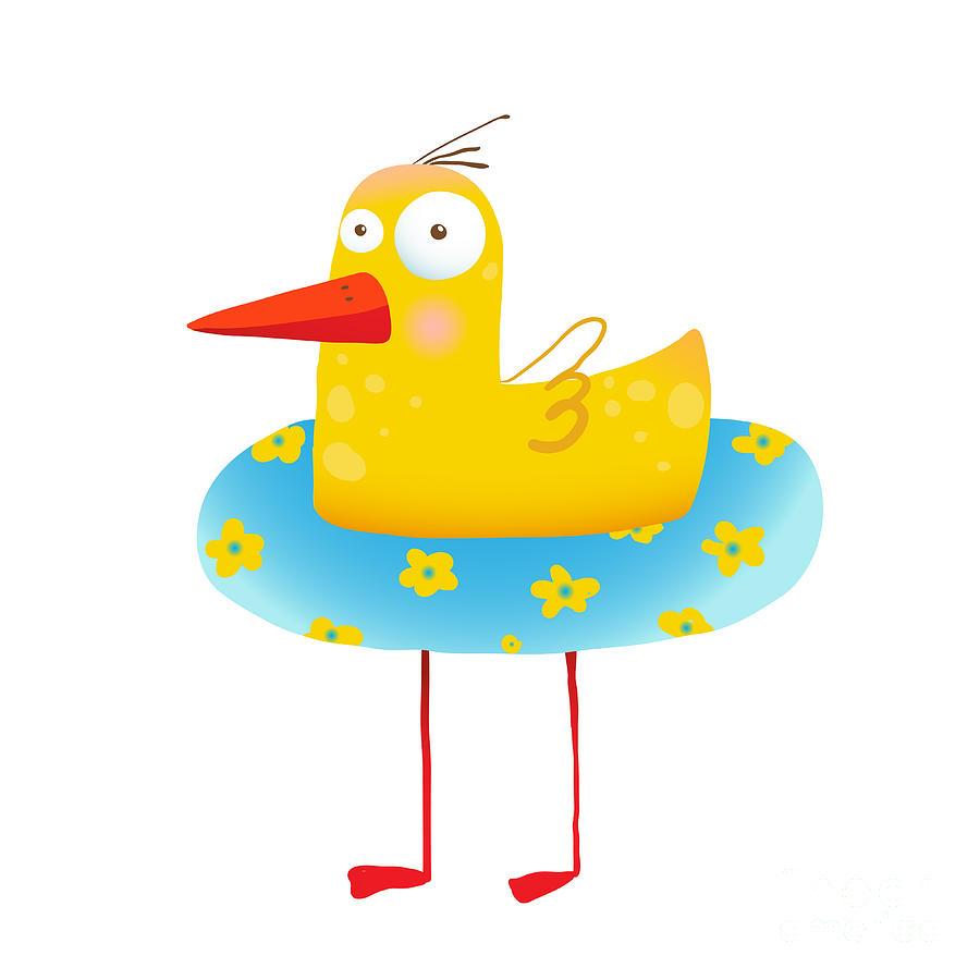 Play Digital Art - Kids Humorous Yellow Duck With Swimming by Popmarleo