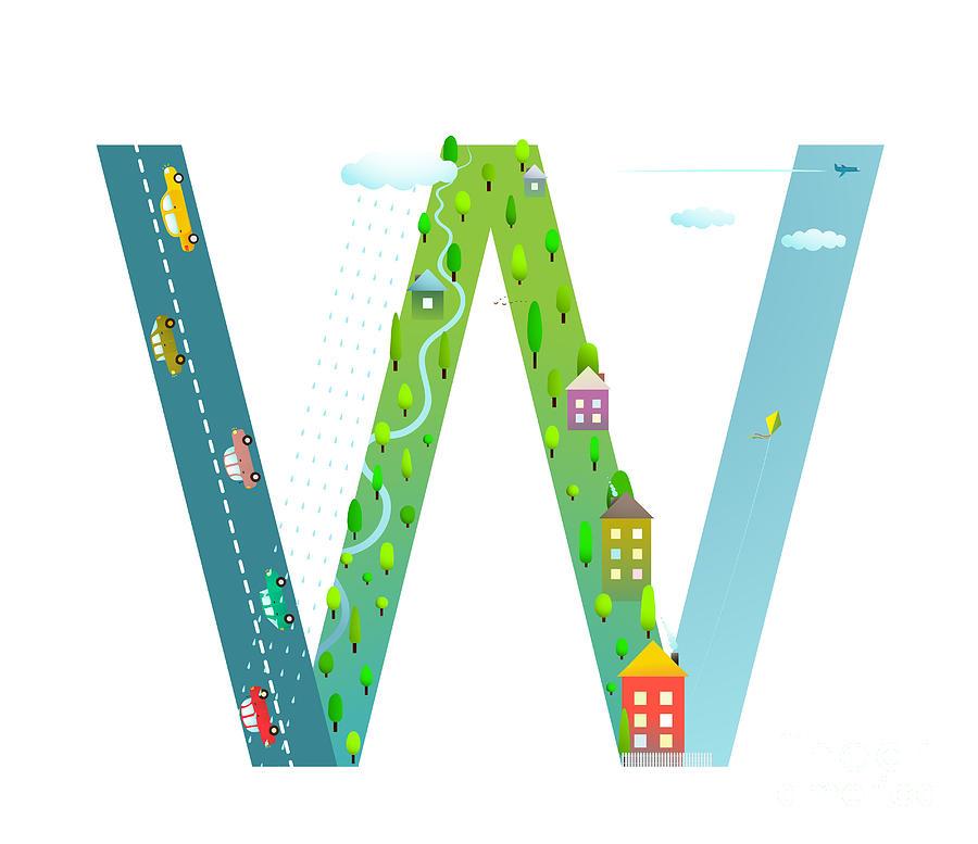 Symbol Digital Art - Kids Letter W Sign Cartoon Alphabet by Popmarleo