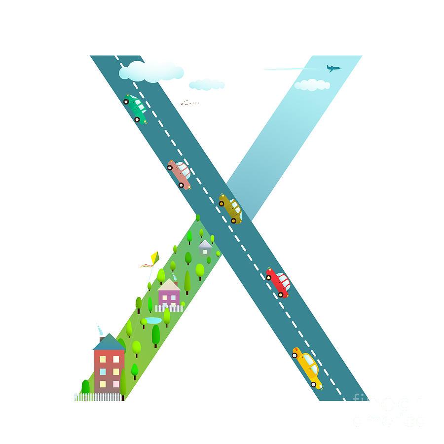 Symbol Digital Art - Kids Letter X Sign Cartoon Alphabet by Popmarleo