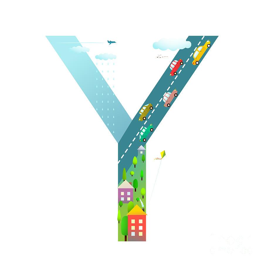 Symbol Digital Art - Kids Letter Y Sign Cartoon Alphabet by Popmarleo