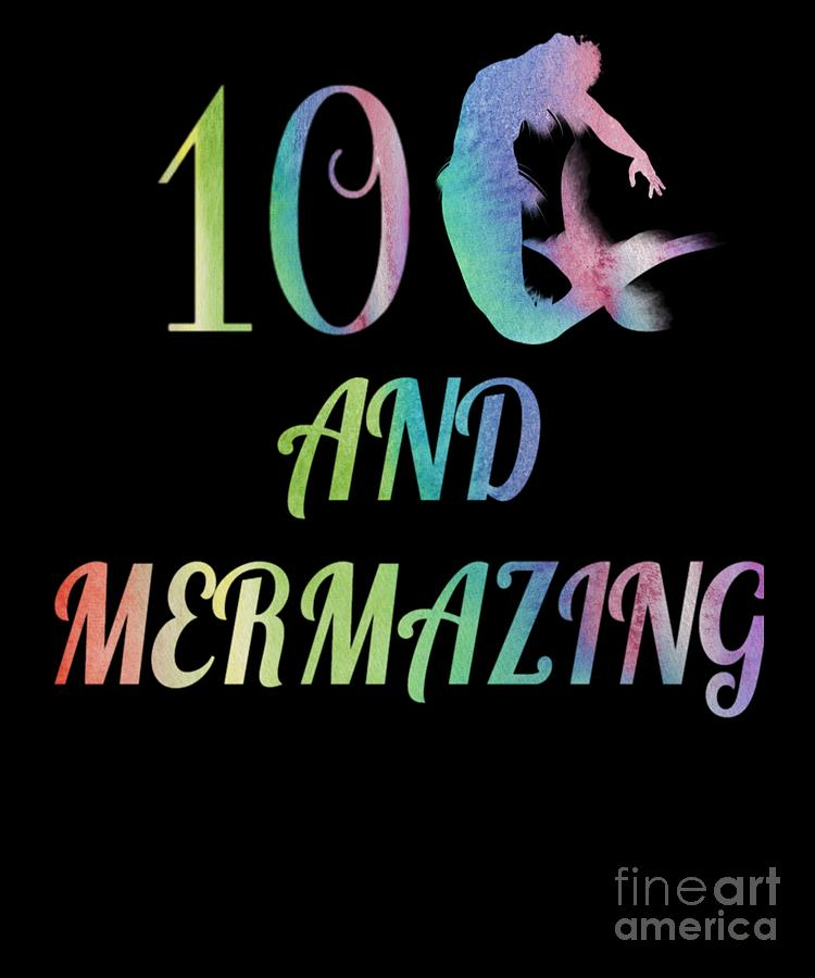 Kids Mermaid Girls 10th Birthday 10 Years Old Party Gift by Art Grabitees