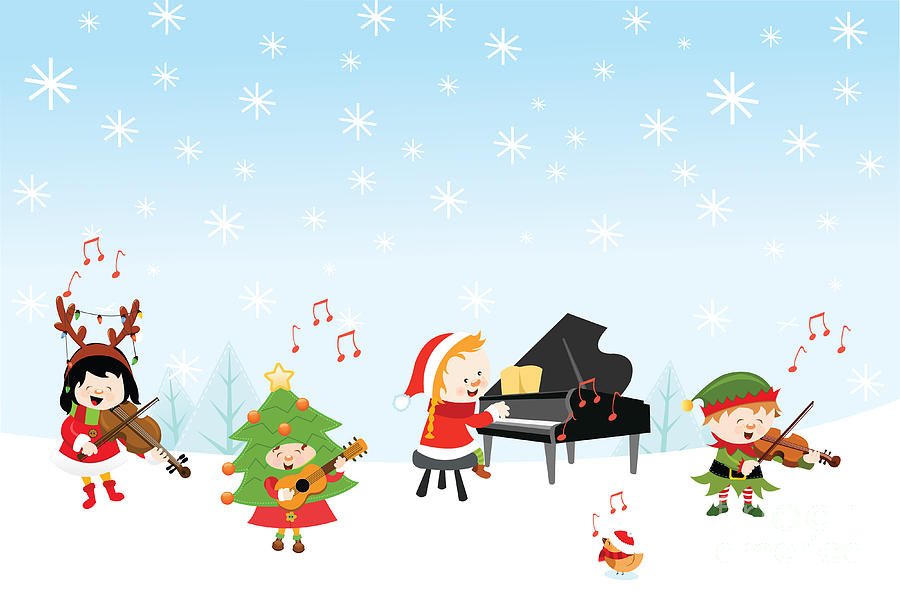 Gift Digital Art - Kids Playing Christmas Songs by Pinar Ince