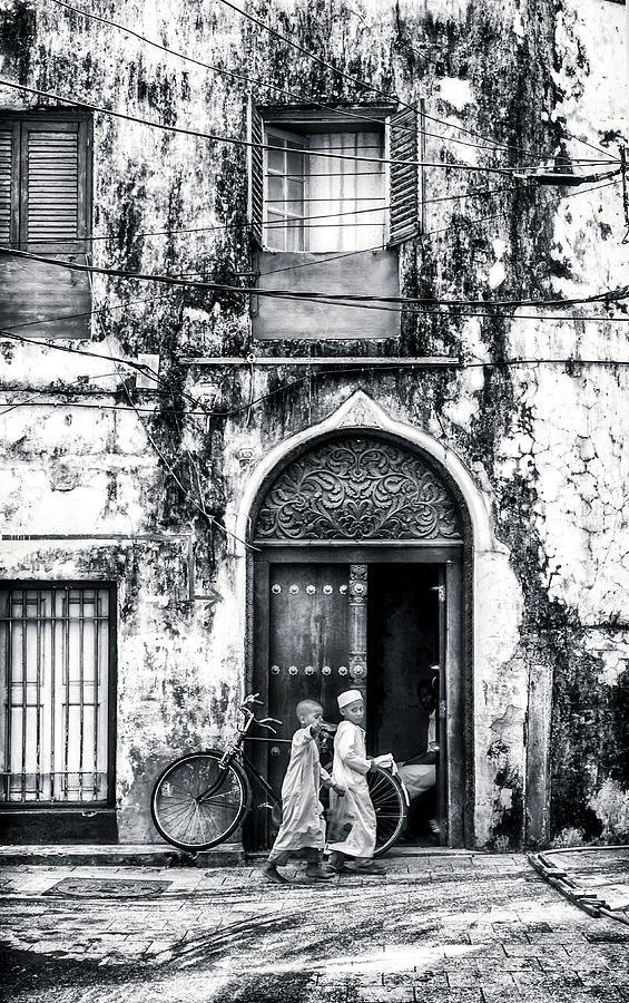 Africa Photograph - Kids Walking - Stonetown Zanzibar 3620 by Neptune - Amyn Nasser Photographer