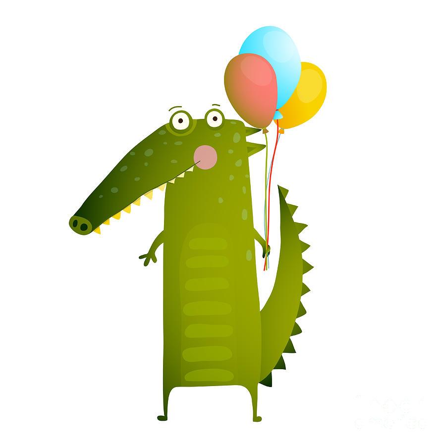 Crocodile Digital Art - Kids Watercolor Style Crocodile With by Popmarleo