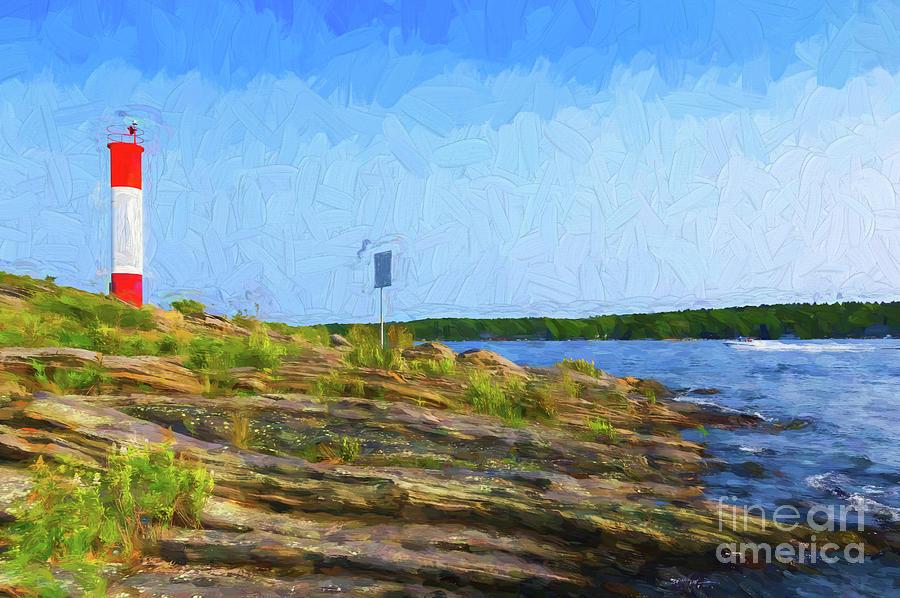 Killbear Lighthouse - painterly by Les Palenik