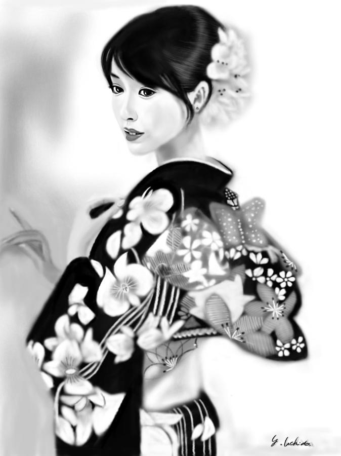 Ipad Painting - Kimono girl No.28 by Yoshiyuki Uchida
