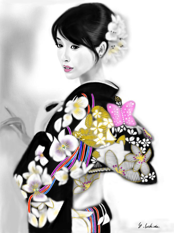 Ipad Painting - Kimono girl No.29 by Yoshiyuki Uchida
