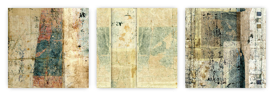 Japan Mixed Media - Kimono Triptych 060704 Horizontal by Carol Leigh