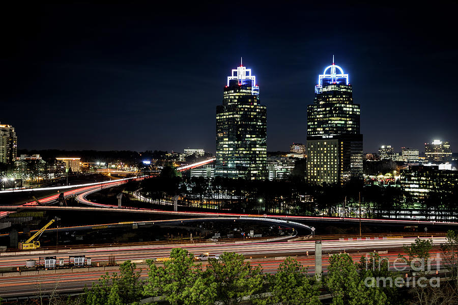 King and Queen Buildings at Night Atlanta GA 1 by SANJEEV SINGHAL