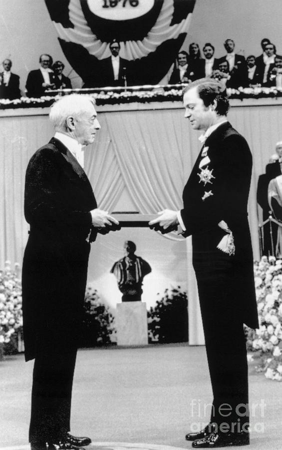 King Carl Gustaf Giving Saul Bellow Photograph by Bettmann