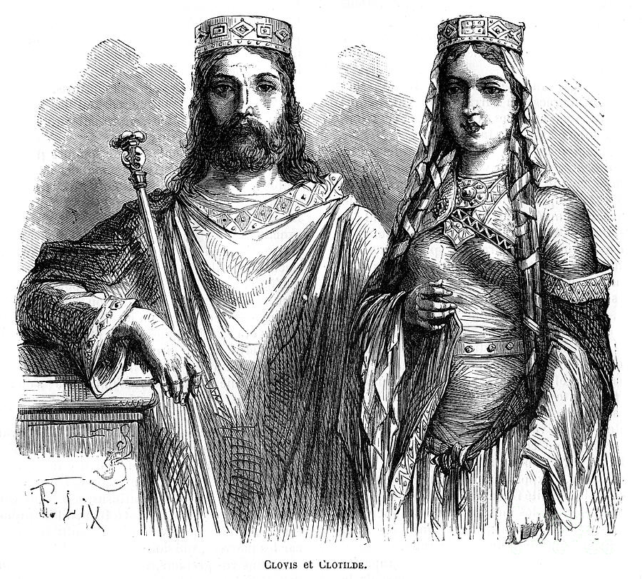 King Clovis I And Queen Clotilde Drawing by Print Collector