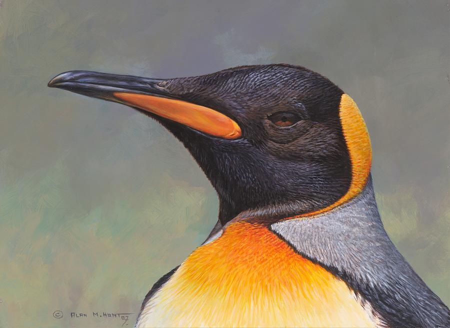 Arctic Painting - King Penguin Portrait By Alan M Hunt by Alan M Hunt