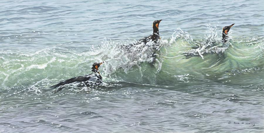 King Penguins Swimming in the Waves by Alan M Hunt