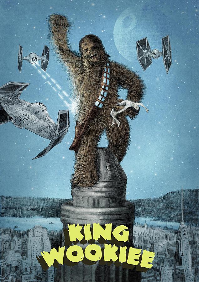 King Kong Drawing - King Wookiee by Eric Fan