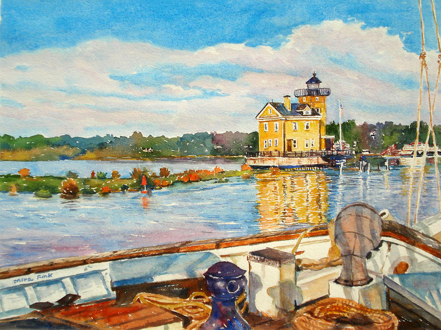 Boat Painting - Kingston Lighthouse From The Sloop Clearwater by Mira Fink