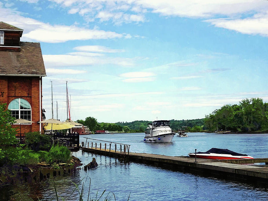 Kingston NY - Cabin Cruiser on Rondout Creek by Susan Savad