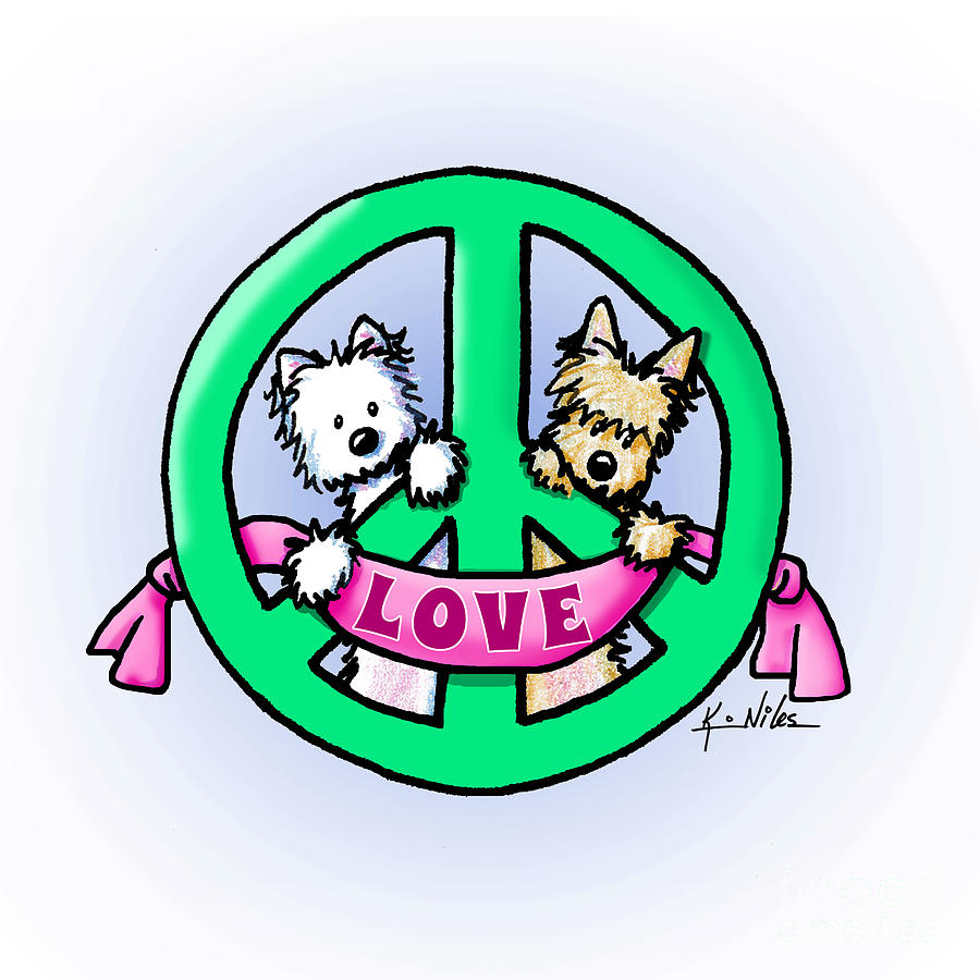 KiniArt Terriers Peace and Love by Kim Niles
