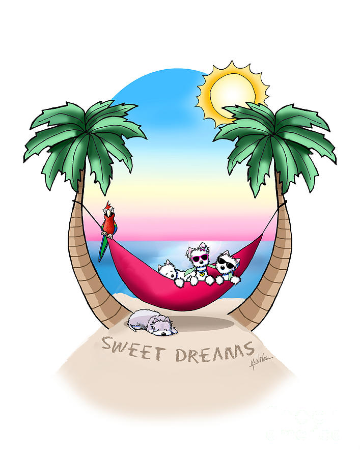 Westie Drawing - Kiniart Westies Tropical Dreams by Kim Niles