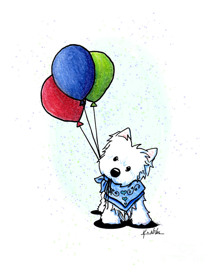KiniArt Westie With Balloons by Kim Niles