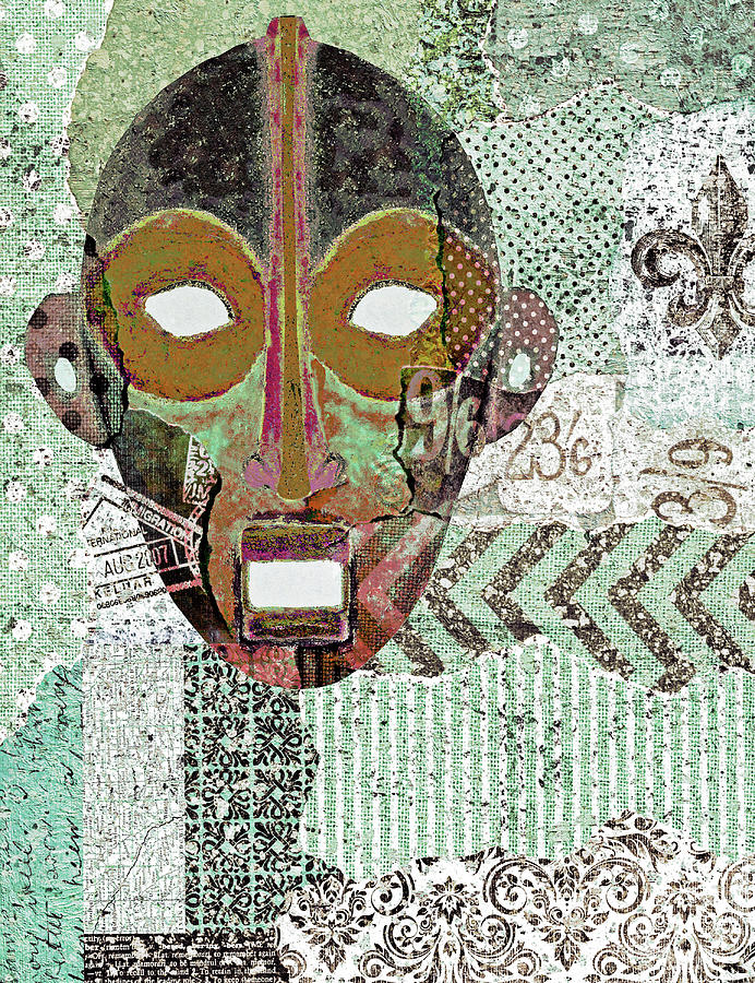 Green Digital Art - Kinywa Mask Collage 2 by Regina Wyatt