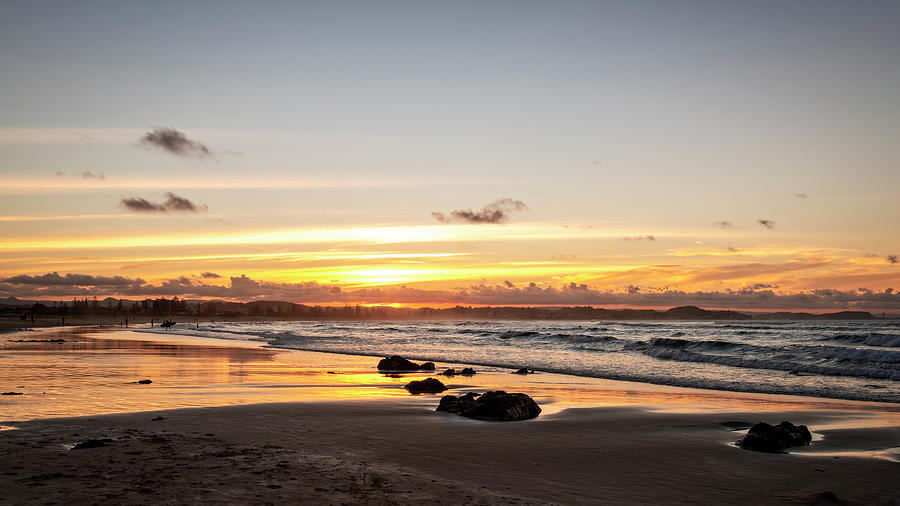 Kirra Beach Sunset Glow by Catherine Reading