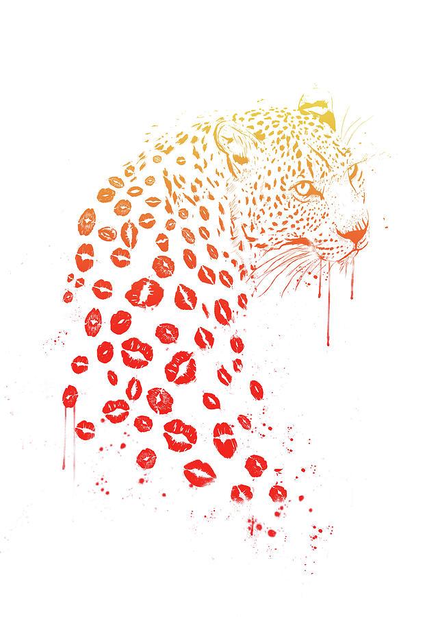 Leopard Drawing - Kiss me by Balazs Solti