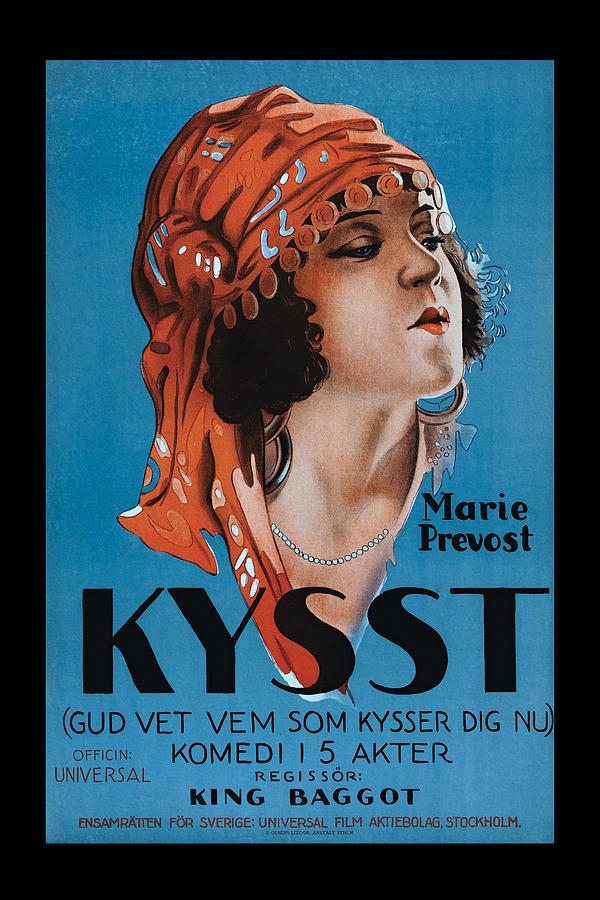Vintage Movie Poster Painting - Kissed 1922 Vintage Movie Poster by Vincent
